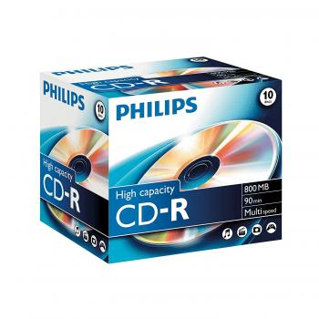 008-325 / 1x10 PHILIPS CD-R Rohlinge Discs 90Min 800MB 40x JEWEL CASE (CR8D8NJ10/00) OVP NEU