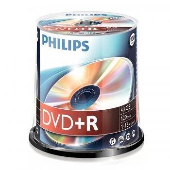 008-332 / 1x100 PHILIPS DVD+R Rohlinge 4.7GB 1x16x CAKEBOX (DR4S6B00F/00) NEU