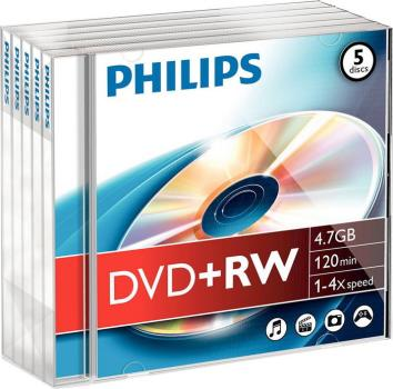 008-335 / 1x5 PHILIPS DVD+RW 4.7GB/120Min/4x JEWEL (DW4S4J05F/00) NEU