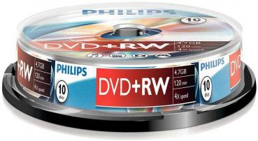 008-336 / 1x10 PHILIPS DVD+RW 4.7GB 120Min 1x4x Cakebox (DW4S4B10F/00) NEU