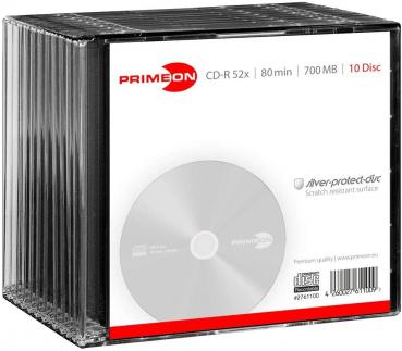 008-352 / 1x10 PRIMEON CD-R Write Once 80Min 700MB 52x SLIM CASE (2761100) OVP NEU