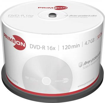 008-363 / 1x50 PRIMEON DVD-R WriteOnce 4.7GB 120Min 16x Cakebox (2761204) OVP NEU