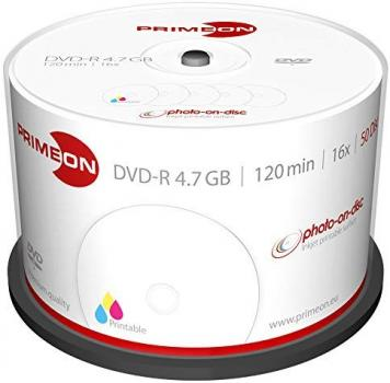 008-365 / 1x50 PRIMEON DVD-R Write Once 4.7GB 120Min 1x16x Printable Cakebox (2761206) OVP NEU