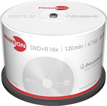 008-369 / 1x50 PRIMEON DVD+R WriteOnce 4.7GB 120Min 16x Cakebox (2761224) OVP NEU