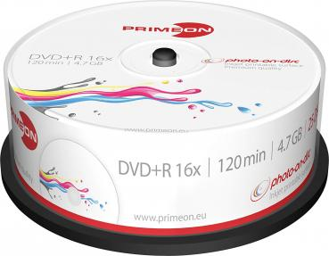 008-370 / 1x25 PRIMEON DVD+R 4.7GB 120Min 16x Printable Cakebox (2761225) OVP NEU