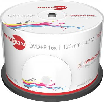 008-371 / 1x50 PRIMEON DVD+R WriteOnce 4.7GB 120Min 16x Printable Cakebox (2761226) OVP NEU