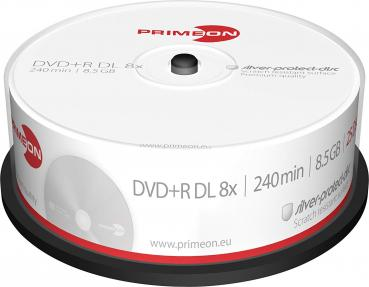 008-373 / 1x25 PRIMEON DVD+R DL Discs 8.5GB 240Min 8x Cakebox (2761251) NEU