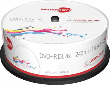 008-374 / 1x25 PRIMEON DVD+R DL 8.5GB 240Min 8x Printable Cakebox (2761252) NEU