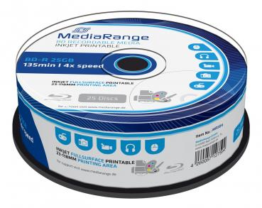 008-732 / 1x25 MediaRange BD-R Blu-Ray 25GB 135min 1x4x Printable Cakebox (MR504) OVP NEU