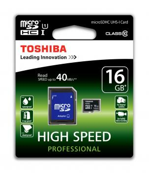 008-755 / TOSHIBA microSDHC Cl.10 16GB UHS-I High Speed Profi +Adp (SD-C016UHS1-6A) NEU