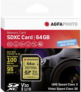 008-995 / AGFA SDXC Card 64GB Class10 UHS-I (U3) V30 Professional High Speed (für 4K) R100/W95 (10606) OVP NEU