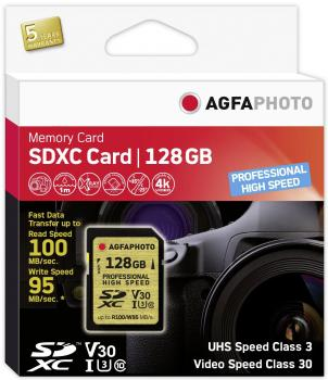 008-996 / AGFA SDXC Card 128GB Class10 UHS-I (U3) V30 Professional High Speed (für 4K) R100/W95 (10607) OVP NEU