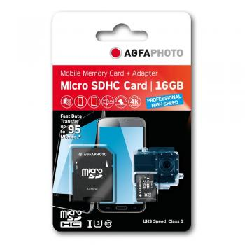 009-325 / AGFA MicroSDHC Card 16GB Prof. HighSpeed UHS-I U3 +Adapter (10610) NEU