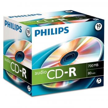 009-364 / 1x10 PHILIPS CD-R Audio Rohlinge Discs 80min 700MB Jewel Case (CR7A0NJ10/00) OVP NEU