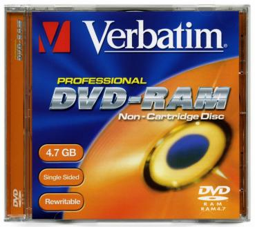 009-367 / VERBATIM DVD-RAM 4.7GB 120min 2x3x JEWEL Case (43151) NEU