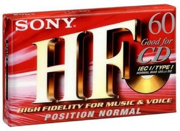 "009-601 / SONY HF 60min Normal Position Type-I Ferro ""For CD"" Leere Audio Cassette MEXICO (C-60HFC) OVP NEU"