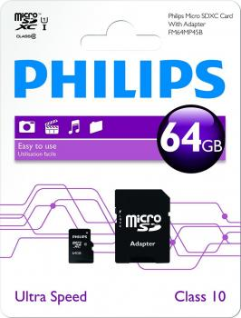 009-720 / PHILIPS microSDXC 64GB Cl.10 UHS-I U1 80MBs +Adpt (FM64MP45B/10) NEU