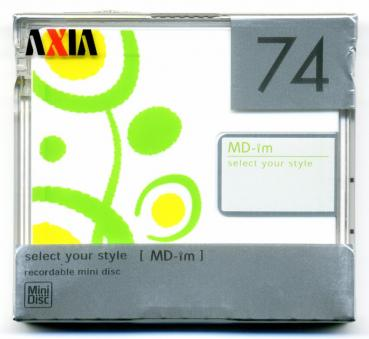 "009-771 / AXIA 74min Recordable Mini Disc MD ""Select Your Style"" (MD-IMC-H74) NEU"