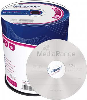 009-925 / 1x100 MediaRange CD-R Rohlinge 80min 700MB 52x Cakebox (MR204) OVP NEU