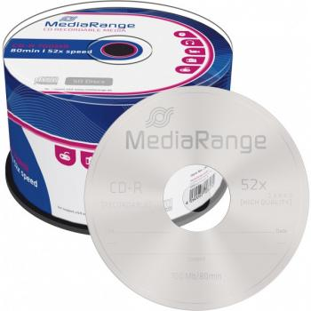 009-927 / 1x50 MediaRange CD-R WriteOnce 80min 700MB 52x Cakebox (MR207) OVP NEU