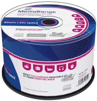 009-928 / 1x50 MediaRange CD-R Write Once 80min 700MB 52x Printable Cakebox (MR208) OVP NEU