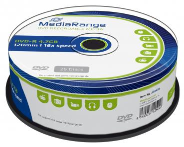 009-934 / 1x25 MediaRange DVD-R WriteOnce 4.7GB 16x Cakebox (MR403) OVP NEU