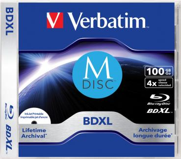 009-978 / VERBATIM M-DISC BD-XL Blu-Ray Single Disc 100GB 1x4x Printable JEWEL CASE (43833) OVP NEU