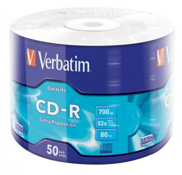 009-981 / 1x50 Verbatim CD-R 80min 700MB 52x Eco-Pack Extra Protection BULK (43787) OVP NEU