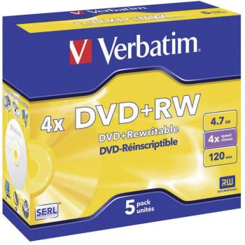 009-984 / 1x5 VERBATIM DVD+RW Rewritable 4.7GB 1x4x JEWEL CASE (43229) NEU