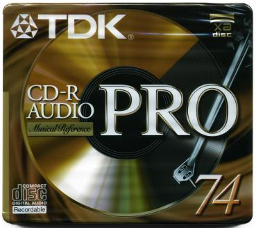 009-999 / TDK CD-R Audio PRO Disc WriteOnce 74min JEWEL (CD-RAPRO74EA) NEU