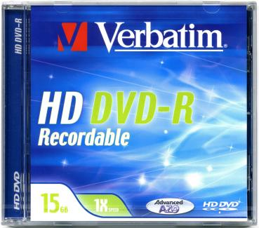 010-001 / VERBATIM HD DVD-R Single Disc 15GB Jewel (43600) NEU