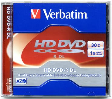 010-002 / VERBATIM HD DVD-R DL Dual Layer Disc 30GB 1x Speed JEWEL (43602) NEU