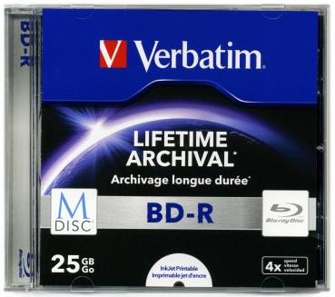 010-062 / VERBATIM M-DISC BD-R Blu-Ray 25GB 1x4x Printable JEWEL CASE (43822) NEU