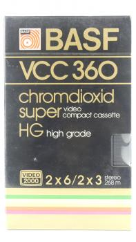 "010-153 / BASF 2x180min ""Chromdioxid Super""  Video2000 Kassette (VCC360) NEU"