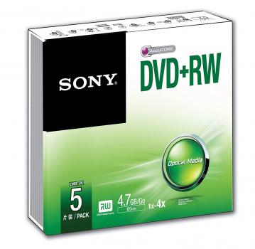 010-170 / 1x5 SONY DVD+RW Rewritable 1x4x 4.7GB SLIM CASE (5DPW47SS) NEU
