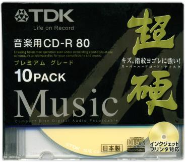 010-177 / 1x10 TDK Audio CD-R Disc WriteOnce 80min 700MB JEWEL (CD-RHC80PWGX10A) NEU