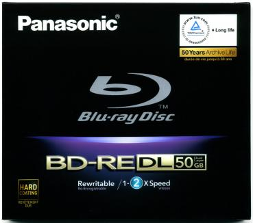 010-212 / PANASONIC BD-RE DL BluRay Disc 50GB DoubleLayer 1x2x JEWEL (LM-BE50DE ) NEU