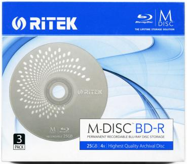 010-223 / 1x3 PACK RITEK M-DISC BD-R Blu-Ray 25GB 1x4x JEWEL CASE NEU