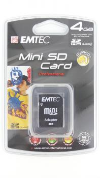 010-258 / EMTEC MiniSD Professional Card 4GB +Adapter (EKMMSD4GB80XHC) NEU