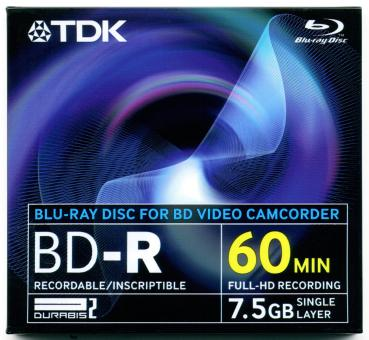 010-276 / TDK 8cm BD-R Blu-Ray 7.5GB 60min Single Disc JEWEL (BD-R8JC2EA) NEU