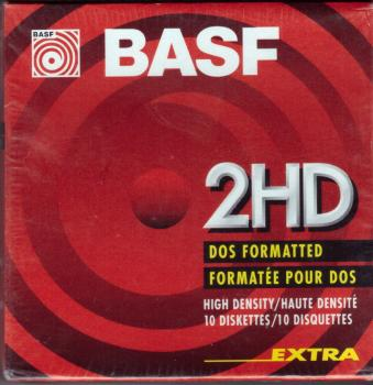 010-418 / 1x10 BASF Disketten FloppyDisk 2HD 1.44MB 3.5/90mm DOS Formatted NEU