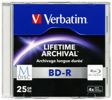 010-422 / VERBATIM M-DISC BD-R Blu-Ray 25GB 1x4x JEWEL CASE (43827) NEU