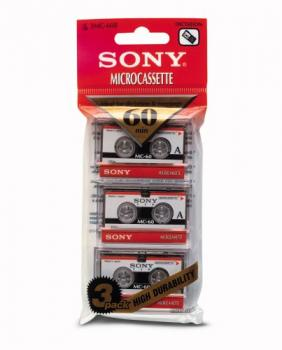 010-430 / 1x3 PACK SONY 60min Microcassette for Voice Recorder (3MC-60B) NEU