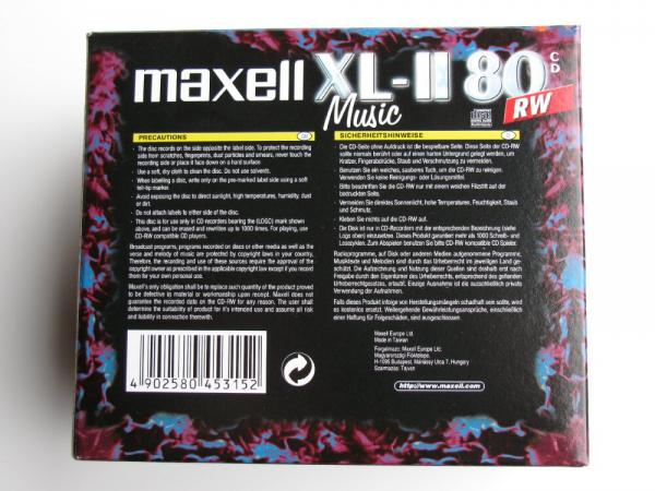 003-749 / 1x10 PACK MAXELL XL-II 80 Audio CD-RW Rohlinge Rewritable Jewel Case (624865) OVP NEU