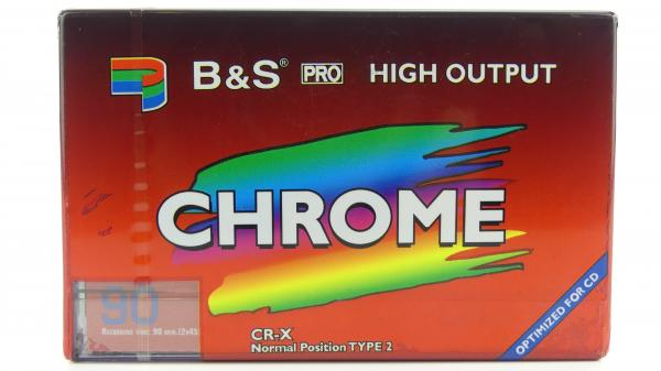 "009-001 / B&S 90min High Output Type-II Position Chrome ""Optimized for CD"" Audio Kassette (CR-X90) NEU"